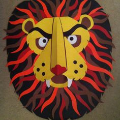 """""""The Lion and the Mouse"""" readers theatre masks. I made these out of construction paper."""