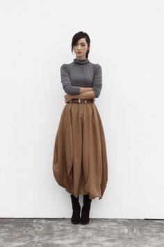 Maxi Skirt Lagenlook Woollen Skirt Sexy Bud Skirt Long Skirt in Camel - NC505