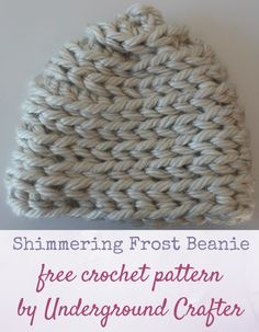 Free crochet pattern: Shimmering Frost Beanie in 3 sizes in Bernat Mega Bulky and Kreinik Twist by Underground Crafter | Crocheting in the back loop of half double crochet stitches mimics the look of the stockinette stitch in knitting. Holding a jumbo yarn with a metallic thread in a different color creates a gentle shimmer on the surface of this hat. This pattern is part of the 2016 Holiday Blog Hop. via @ucrafter