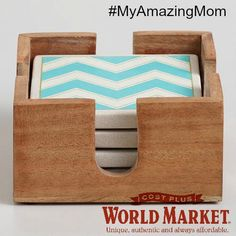 aqua chevron coasters Cost Plus World Market #myamazingmom #worldmarket Think I will diy them:)