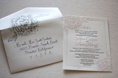 posh paperie-- gorgeous wedding invitation. love the stamp folding over the envelope