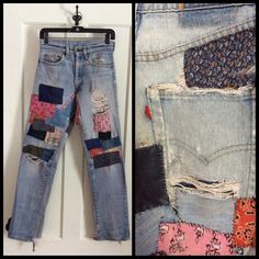 Vintage Levi's 29X32 Straight Leg hand stitched Patchwork Destroyed Hippie Blue Jeans made in USA 29 inch Waist Boyfriend Distressed by sidvintage on Etsy https://www.etsy.com/listing/226176687/vintage-levis-29x32-straight-leg-hand