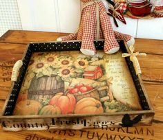 Beautiful distressed decoupaged painted sealed wooden tray by a lucky alumni at Ece Aymer Craft House.