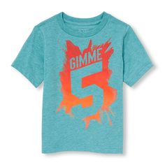 Toddler Boys Short Sleeve 'Gimme 5' Graphic Tee