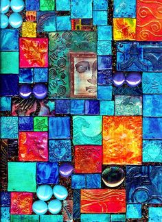 by Robin Meade  Polymer Clay tiles on canvas…acrylic paint, seed beads, glass beads, clear varnish…textured, colorful, unique..!  beautiful artwork!