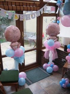 Baby Shower Balloon Art (doing this tomorrow for a gender reveal) love this