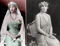 Victoria Eugenia wearing (picture on the right) a tiara was made by Ansorena with pearls. Later the pearls were changed for the aquamarines.    The tiara she's wearing on the left is called the Fleur de Lys tiara, again by Ansorena.