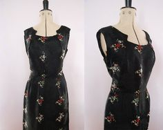 Vintage 50s 60s Cheongsam silk satin cocktail by vibingonvintage