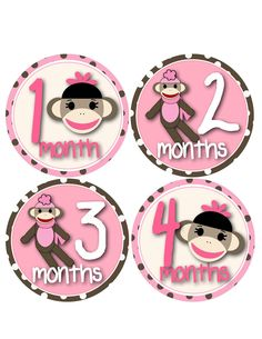 Sock Monkey Monthly Onesie Stickers...Pink and Brown Sock Monkeys for Baby Girls...Favorite Baby Shower Gift for New Moms. $9.00, via Etsy.