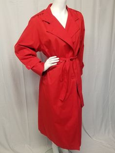 Vtg Womens Large BOTANY 500 Red Trench Coat Zip In Lining VALENTINES DAY -  USA   a4d8ad85a