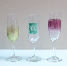 Looking for a fun way to personalize champagne glasses? Grab some glitter paint and lets go!!! Pin SUPPLIES // Champagne glasses… Ikea, Cost Plus and Michael's all have extremely inexpe...