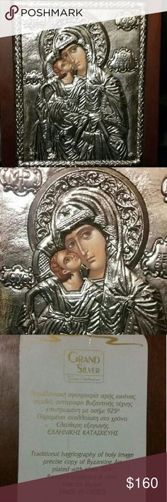 Silver-plated Religious Icon Artwork from Greece Silver 92.5 plated Icon hand painted on wood.  See description on picture.  H 10.5 x W 8.5.  Purchased in Athens, Greece and in brand new condition. Kindly ask all questions prior to offering/purchasing,  Thank you. Other