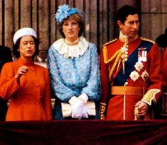 June 13, 1981: Prince Charles & his fiancé, Lady Diana Spencer with Princess Margaret on the balcony of Buckingham Palace watching Trooping the Colour ceremony.