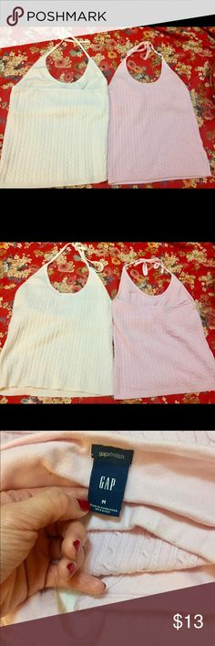 Gap Halter Bundle Gap Medium Womens. Stretchy Material 100% cotton. Good Used condition. No stains or holes. In perfect shape. From pet free smoke free home. Pink and White. GAP Tops Tank Tops