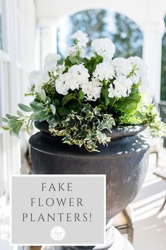 Having a hard time keeping flowers alive? There are spots that don't get enough water in your yard, or get too much sun - why not try fake flowers outside? See how I use fake/faux flowers in my container planters outside with great results! Faux Outdoor Plants, Outdoor Flowers, Outdoor Planters, Faux Plants, Flower Planters, Garden Planters, Fake Flower Arrangements, Fake Flowers, Silk Flowers