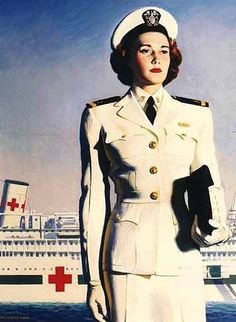 U.S. Navy recruiting poster from World War II    showing a Navy Nurse with a hospital ship