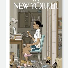 The human penchant for maintaining a clear demarcation between a front and back stage was made even more stark during the pandemic. Artist: Adrian Tomine The New Yorker, New Yorker Covers, Capas New Yorker, Type Illustration, Messy Room, Illustration Techniques, How To Make Comics, December 7, Love Life
