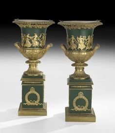 Handsome Pair of French Gilt-Bronze-Mounted Metal Urns in the Empire Taste, fourth quarter 19th century,