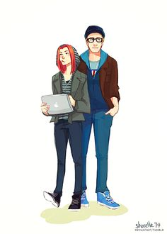 Steve and Natasha disguised as hipster dorks | Captain America: The Winter Soldier •Shorelle