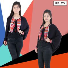 This ethnic yoke shrug goes perfect with your jog/ skinny pants and gives it a very ethnic rich look