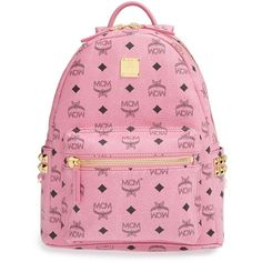 MCM 'Small Stark' Side Stud Backpack ($660) ❤ liked on Polyvore featuring bags, backpacks, accessories, mcm, bookbags, pink, pink studded backpack, ipad backpack, padded bag and studded bag