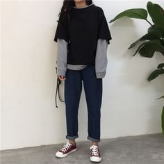 Designer Clothes, Shoes & Bags for Women Edgy Outfits, Retro Outfits, Grunge Outfits, Cool Outfits, Fashion Outfits, Ulzzang Fashion, Tomboy Fashion, Moda Fashion, Streetwear Fashion