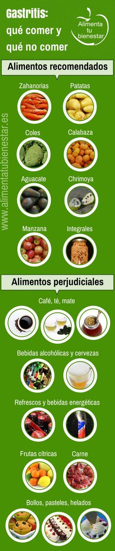 #Infografia Alimentación para la #gastritis: qué alimentos comer y cuáles no