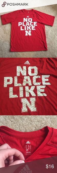 Adidas Climalite Nebraska Cornhuskers Shirt Size M Perfect for game day! Only worn once. Feel free to make an offer! adidas Shirts Tees - Short Sleeve