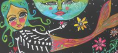 Mermaid & MOON Day of the Dead  painting  Mexican Folk ART  17 x 32 HUGE  #OutsiderArt