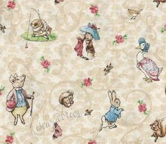 Beatrix Potter Victorian Nursery Characters CoTToN FaBriC Tan/Ivory. $18.99, via Etsy.
