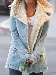 Casual Plain Turn-Down Collar Buttoned Long Sleeve Outwear – fashiontia Sherpa Denim Jacket, Denim Jacket Fashion, Padded Jacket, Mode Outfits, Fall Outfits, Fashion Outfits, Looks Plus Size, Outfit Jeans, Moda Fashion