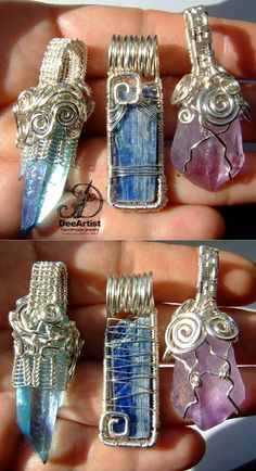 Silver plated wire wrapped crystals (front & back): Aqua Aura Quartz crystal point Kyanite Amethyst point