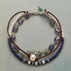 """LUSTROUS EVENING BRACELET--Lustrous cultured pearls meet the evening hues of iolite, labradorite and lapis on our toggle clasp bracelet. With leather and sterling silver. Exclusive. Handmade in USA. Approx. 8""""L."""