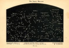 "Vintage Constellations Print ""The Starry Heavens"" Nature Art Print - Night Sky Stars"