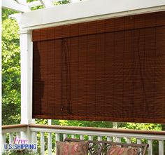 Bamboo Roman Shade Outdoor Solar Patio Curtain Screen Window Treatment Blind