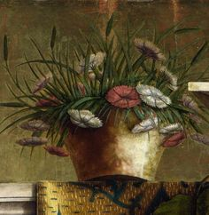 Detail, dianthus in pot, 'La Madonna della Rondine' (The Madonna of the Swallow) (after by Italian (Venetian) Renaissance painter Carlo Crivelli Egg and oil on poplar, x cm. collection: The National Gallery, London. National Gallery, Renaissance Paintings, Italian Painters, Paintings I Love, Arte Floral, Italian Art, Detail Art, Ceramic Painting, Triptych