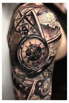 Broken Clock Tattoo, Clock Tattoo Sleeve, Nautical Tattoo Sleeve, Full Sleeve Tattoos, Ocean Sleeve Tattoos, Back Tattoos For Guys Upper, Half Sleeve Tattoos For Guys, Half Sleeve Tattoos Designs, Tattoo Designs Men