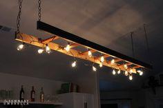 Best Modern Kitchen Lighting Ideas and Tips DIY Ladder Light Rustic Light Fixtures, Rustic Lighting, Unique Lighting, Home Lighting, Lighting Ideas, Pendant Lighting, Lighting Design, Decorative Lighting, Bar Lighting