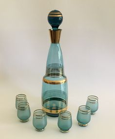 Turquoise and Gold Vintage Czechoslovakia Decanter and Shot Glass Set