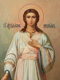 St Stephen, 4×5, $3.00,  Catalog of St. Elisabeth Convent. #CatalogOfGoodDeed #handmade #buy #order #icon #saints #church #orthodox #Christianity #wood #ecclesiastical #Stephen