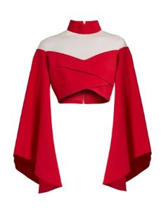Runway Balmain High-Neck Off-The-Shoulder Crop Top Stage Outfits, Kpop Outfits, Mode Outfits, Red Off Shoulder Top, Off Shoulder Shirt, Red Shirt Outfits, Kleidung Design, Bell Sleeve Crop Top, Crop Top With Sleeves