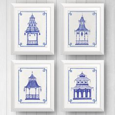 Preppy Art, Blue and White Decor, Pagoda Painting, Chinoiserie Art, Ginger Jar, Chinese Lantern, Asian Art, Blue Pagodas, Palm Beach Style