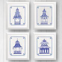 Preppy Art Blue Pagodas Blue and White Decor Pagoda