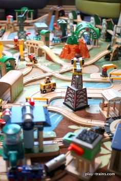 Our latest crazy/cool wooden train layout!