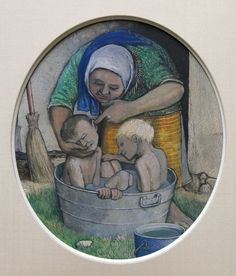 'Mother Bathing 2 Boys in Washtub Outdoors' by William Kurelek at Mayberry Fine Art