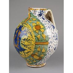 Jug  Place of origin: Cafaggiolo, Italy (possibly, made)  Date: 1541 (dated)  Artist/Maker: Unknown (production)  Materials and Techniques: Tin-glazed earthenware