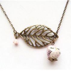 Antiqued Brass Leaf Porcelain Owl Necklace