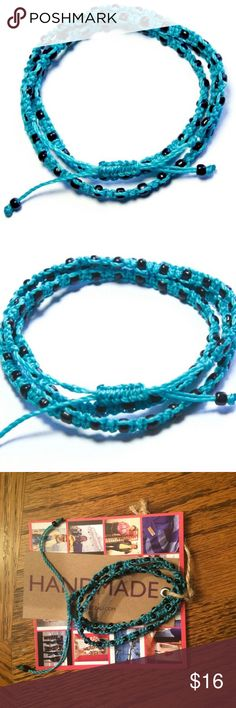 """Triple Wrap Bracelet Handmade triple wrap bracelet. 26"""" round. 100% waxed polyester thread with metal beads. Turquoise and black beads. Each one is handmade in Guatemala and is one of a kind. Price is firm unless bundled. No trades Ketzali Jewelry Bracelets"""