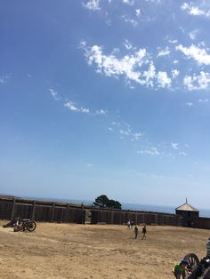 A view inside Fort Ross, looking toward the Pacific Ocean.