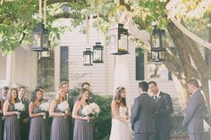 Ceremony with #hanging lanterns #Payne Corley House